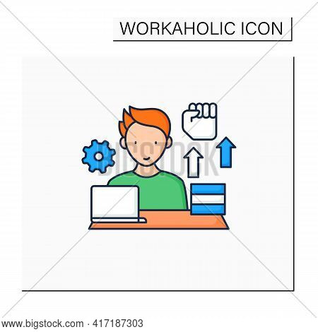 Workaholic Color Icon. Motivational Causes. Man Works Sitting Near Laptop. Hard Working. Overworking