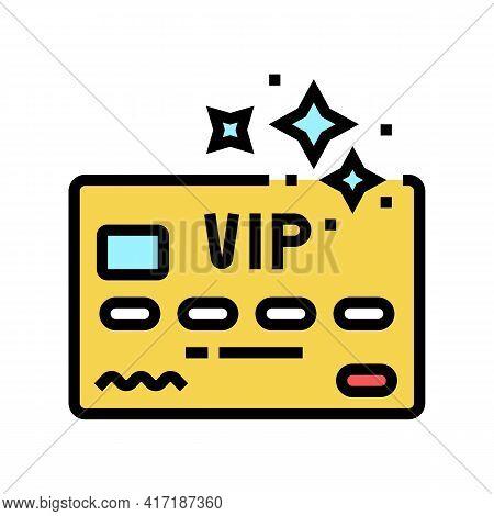 Vip Premium Line Card Color Icon Vector. Vip Premium Line Card Sign. Isolated Symbol Illustration
