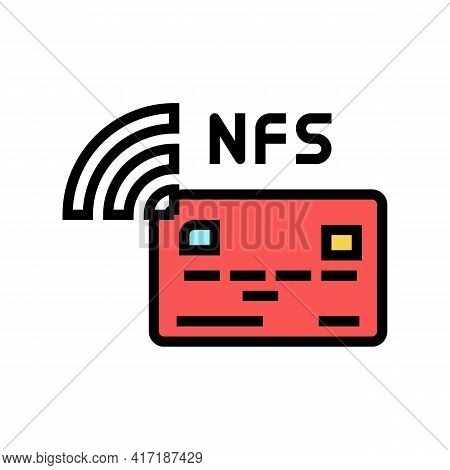 Contactless Nfc System Card Color Icon Vector. Contactless Nfc System Card Sign. Isolated Symbol Ill