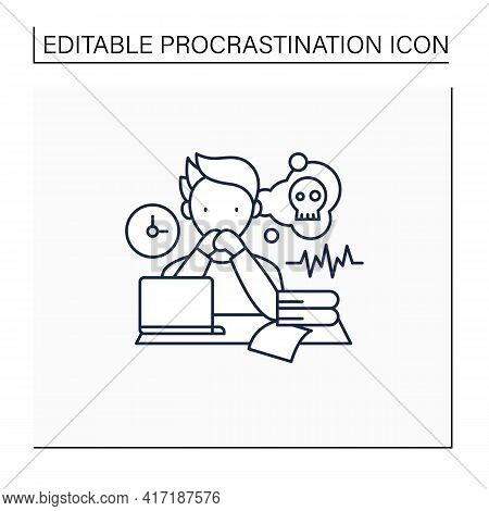 Worrier Procrastinator Line Icon.do Not Start Important, Difficult Tasks. Unbelieve To Do It.scared