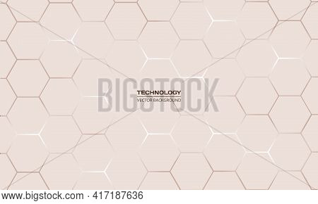 Light Hexagonal Technology Vector Abstract Background. Brown Bright Energy Flashes Under Hexagon In