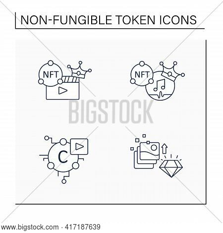 Nft Line Icons Set.non Fungible Tokens Music, Video Clips, Cryptomedia, Digital Art.unique Digital A