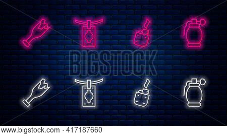 Set Line Money Laundering, Lighter, Broken Bottle As Weapon And Hand Grenade. Glowing Neon Icon On B