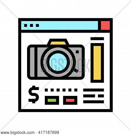Photo Camera Shop Department Color Icon Vector. Photo Camera Shop Department Sign. Isolated Symbol I