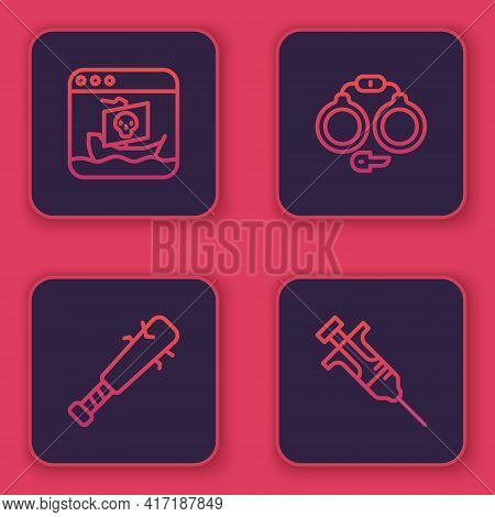 Set Line Internet Piracy, Baseball Bat With Nails, Handcuffs And Syringe. Blue Square Button. Vector