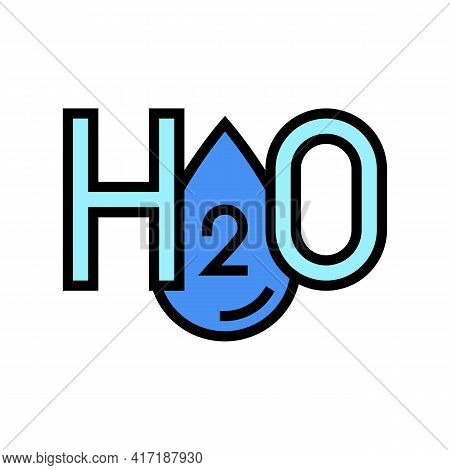 H2o Water Color Icon Vector. H2o Water Sign. Isolated Symbol Illustration