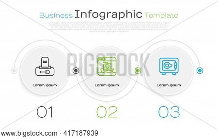 Set Line Grave With Tombstone, Internet Piracy And Safe. Business Infographic Template. Vector