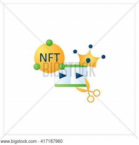 Nft Video Clips Flat Icon.clips With Non Fungible Token Coin. Selling.represent Digital Files. Used