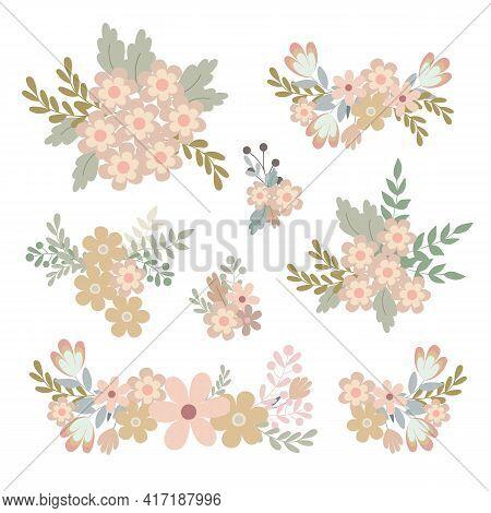 Simple Flowers Pastel-colored Floral Arrangement Set In Flat Style Vector Illustration, Symbol Of Sp