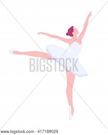 Arabesque Pose, Vector Ballerina In Flat Style. Ballet Dancer Clipart Isolated Illustration. Girl In