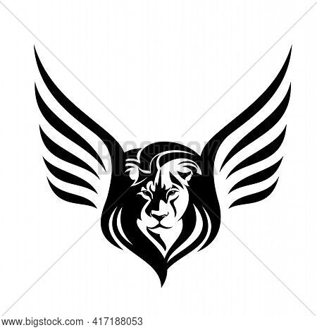 Mythical Winged Lion Black And White Vector Outline Portrait - Animal Head And Bird Wings Simple Mon