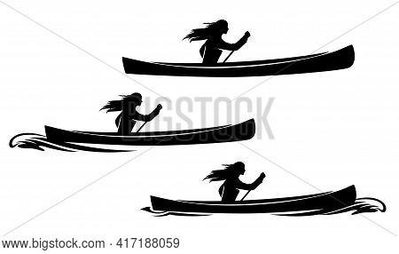 Beautiful Native American Woman Rowing In Traditional Canoe - Indian Girl, Pirogue Boat And Water Wa
