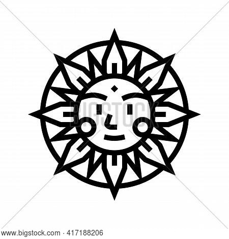 Sun Occult Symbol Line Icon Vector. Sun Occult Symbol Sign. Isolated Contour Symbol Black Illustrati