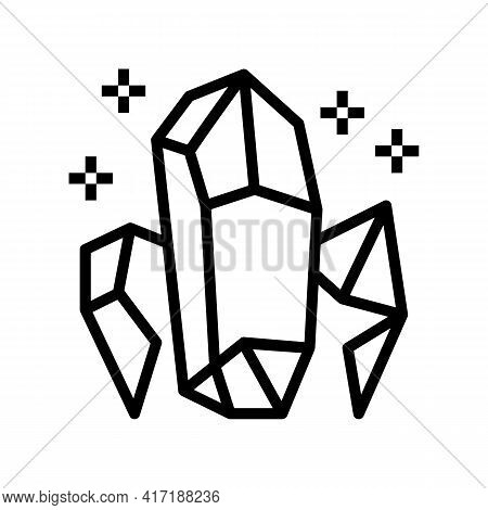 Crystals Astrological Line Icon Vector. Crystals Astrological Sign. Isolated Contour Symbol Black Il