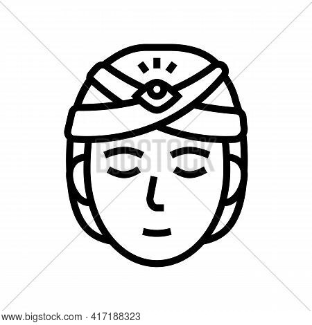 Divination Astrological Line Icon Vector. Divination Astrological Sign. Isolated Contour Symbol Blac