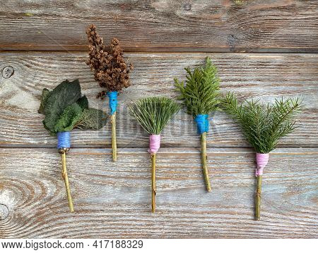 Natural Crafts Made Of Twigs And Sticks, Paint Brushes For Children, Kids Craft.