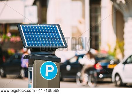 Stockholm, Sweden. Parking Machine Equipped With A Solar Battery For Recharging From Solar Energy Li