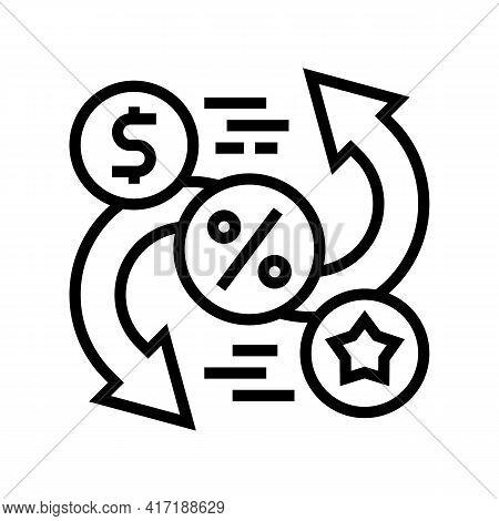 Exchange Money On Bonus Line Icon Vector. Exchange Money On Bonus Sign. Isolated Contour Symbol Blac