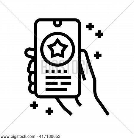 Phone Application Bonus Line Icon Vector. Phone Application Bonus Sign. Isolated Contour Symbol Blac