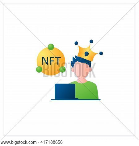 Nft Artist Flat Icon. Content Creator. Crypto Artist. Creating More Nfts Works. Having Copyright. 3d