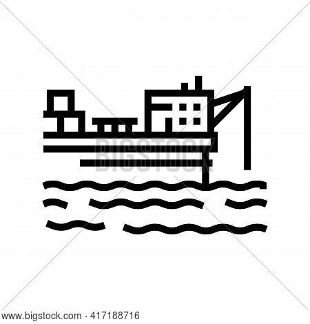 Ship Crane Equipment Line Icon Vector. Ship Crane Equipment Sign. Isolated Contour Symbol Black Illu