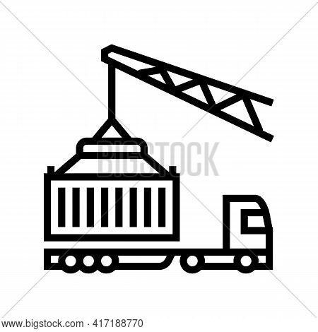 Crane Loading Container On Truck In Port Line Icon Vector. Crane Loading Container On Truck In Port