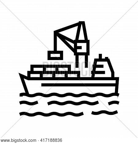 Containers Loading On Ship In Port Line Icon Vector. Containers Loading On Ship In Port Sign. Isolat
