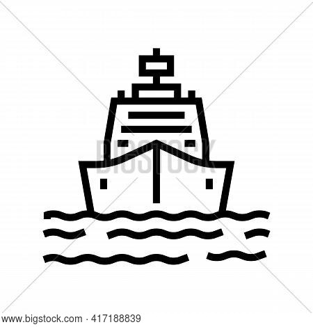 Ship Entering In Port Line Icon Vector. Ship Entering In Port Sign. Isolated Contour Symbol Black Il