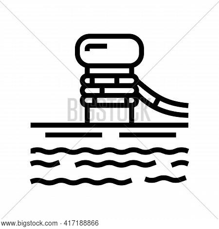 Mooring Bollard Port Line Icon Vector. Mooring Bollard Port Sign. Isolated Contour Symbol Black Illu