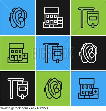 Set Line Hearing Aid, Iv Bag And Medical Hospital Building Icon. Vector