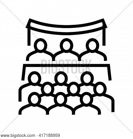 Conference Forum Line Icon Vector. Conference Forum Sign. Isolated Contour Symbol Black Illustration