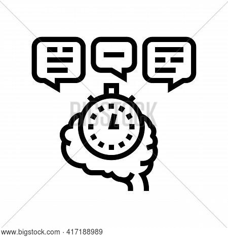 Brainstorming On Forum Line Icon Vector. Brainstorming On Forum Sign. Isolated Contour Symbol Black