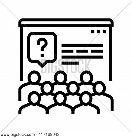 Tasks For Discussion On Forum Line Icon Vector. Tasks For Discussion On Forum Sign. Isolated Contour