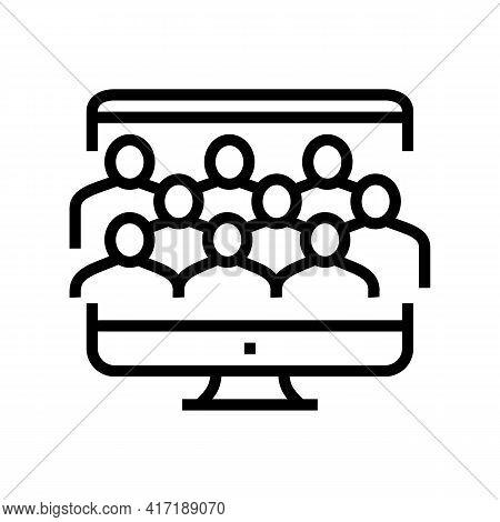 Online Forum Line Icon Vector. Online Forum Sign. Isolated Contour Symbol Black Illustration