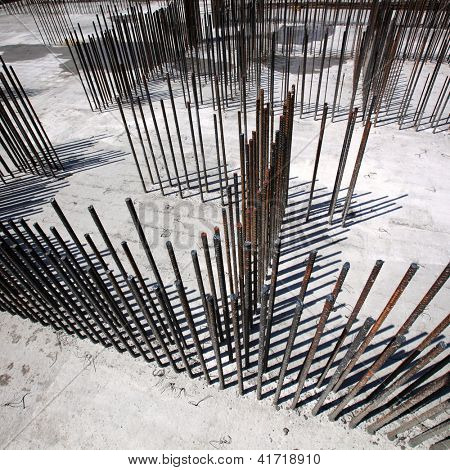 Steel bars for reinforcing concrete. Floor at construction site