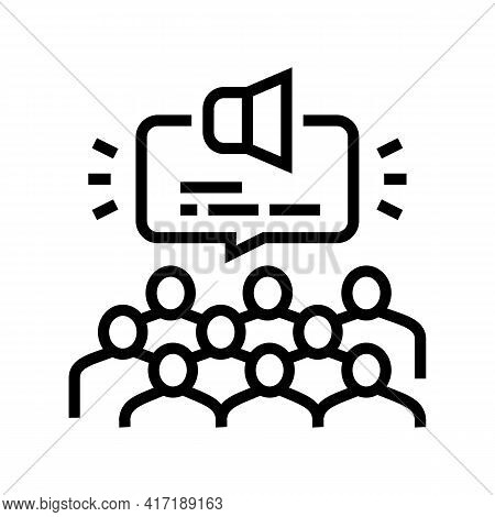 Public Hearing On Forum Line Icon Vector. Public Hearing On Forum Sign. Isolated Contour Symbol Blac