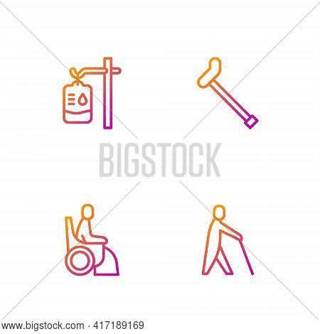Set Line Blind Human Holding Stick, Woman Wheelchair, Iv Bag And Walking Cane. Gradient Color Icons.