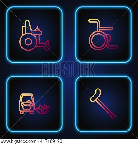 Set Line Walking Stick Cane, Disabled Car, Electric Wheelchair And Wheelchair. Gradient Color Icons.