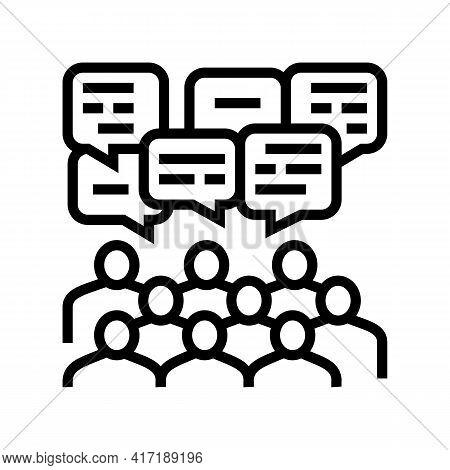 Public Discussion On Forum Line Icon Vector. Public Discussion On Forum Sign. Isolated Contour Symbo