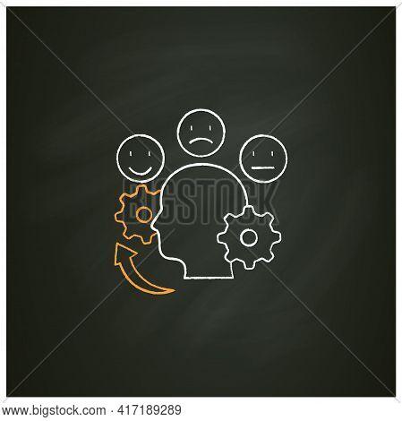 Managing Emotions Chalk Icon. Control Positive And Negative Emotions. Emotional Dysregulation. Burno