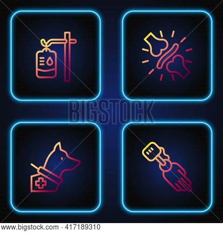 Set Line Prosthesis Hand, Guide Dog, Iv Bag And Joint Pain, Knee Pain. Gradient Color Icons. Vector