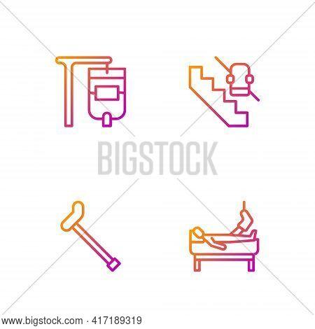 Set Line Patient With Broken Leg, Walking Stick Cane, Iv Bag And Disabled Elevator. Gradient Color I