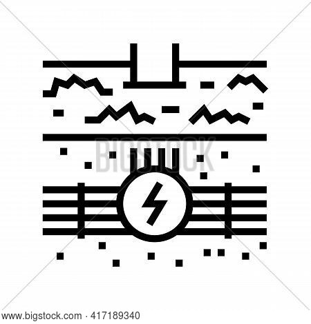 Electricity Communication Land Line Icon Vector. Electricity Communication Land Sign. Isolated Conto