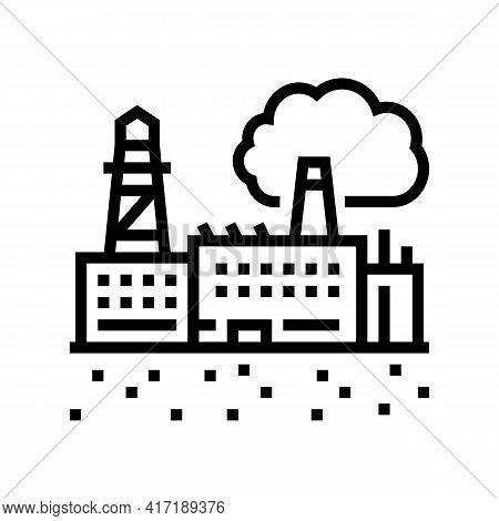 Industrial Zone Land Line Icon Vector. Industrial Zone Land Sign. Isolated Contour Symbol Black Illu