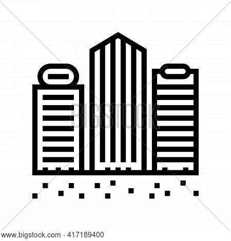 Public And Business Zone Land Line Icon Vector. Public And Business Zone Land Sign. Isolated Contour