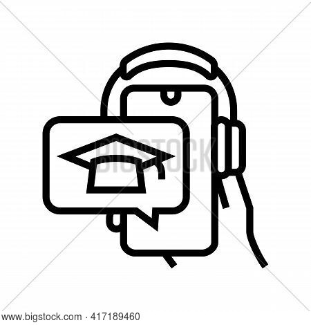 Listen Lesson Phone App Line Icon Vector. Listen Lesson Phone App Sign. Isolated Contour Symbol Blac
