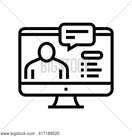 Online Education Lesson Line Icon Vector. Online Education Lesson Sign. Isolated Contour Symbol Blac