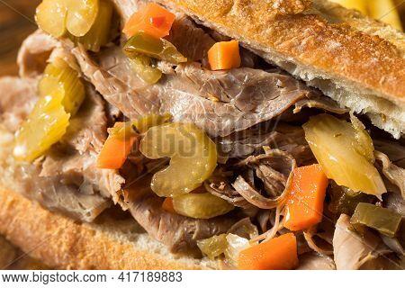 Homemade Chicago Italian Beef Sandwich