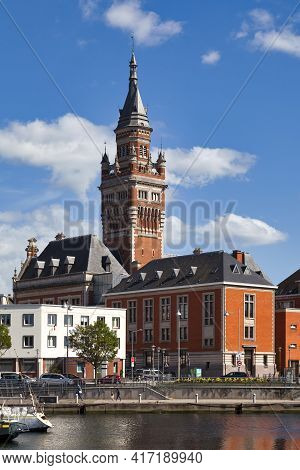 Dunkerque, France - June 22 2020: The Port Du Bassin Du Commerce With The Belfry Of The Dunkirk City