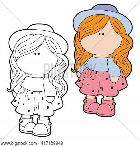 Vector Illustration Coloring Page With Cartoon  Textile Doll For Baby Girl, Coloring And Scrap Book,